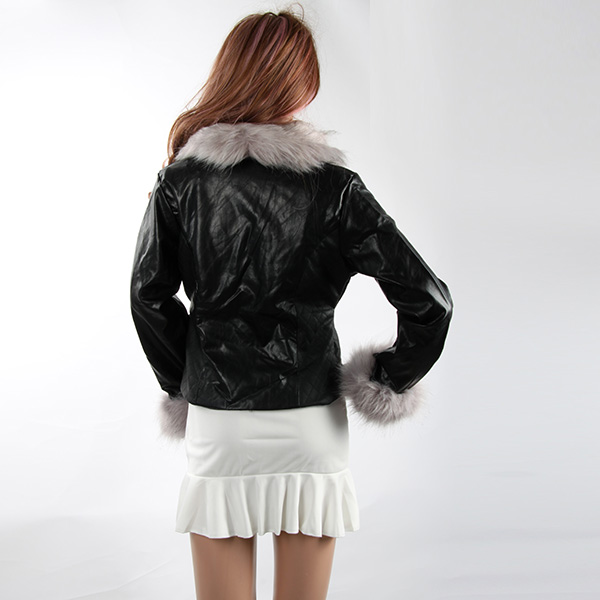 Women Warm Fox Fur Collar Overcoat Faux Leather Slim Fit ...