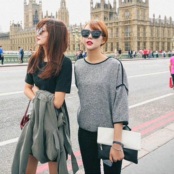 Fashion Causal Short Sleeve T-shirts Gray Womens Crew Neck Blouse Loose Tops