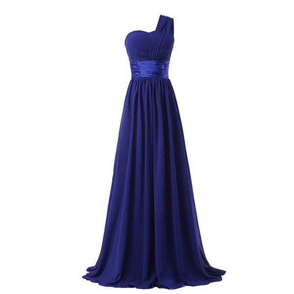 Women One Shoulder Evening Party Dresses Chiffon Prom Gown Formal Cocktail Dress