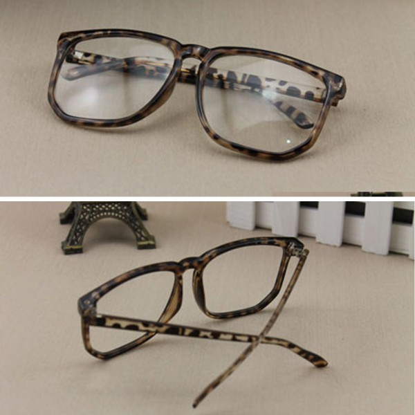 Unisex Men Women Square Frame Glasses Clear Lens Nerd Geek Glasses Eyewear F18