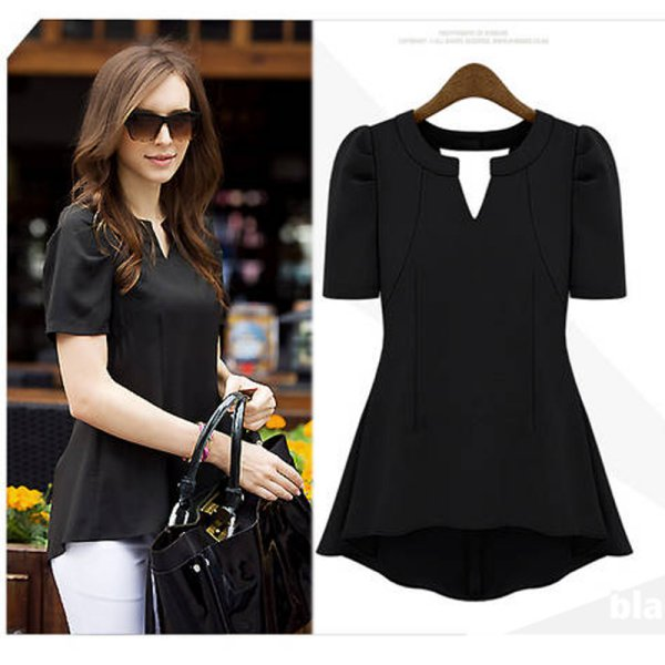 Stylish Women Summer Short Sleeve Hem Slim Waist Peplum Tops V Neck Blouse