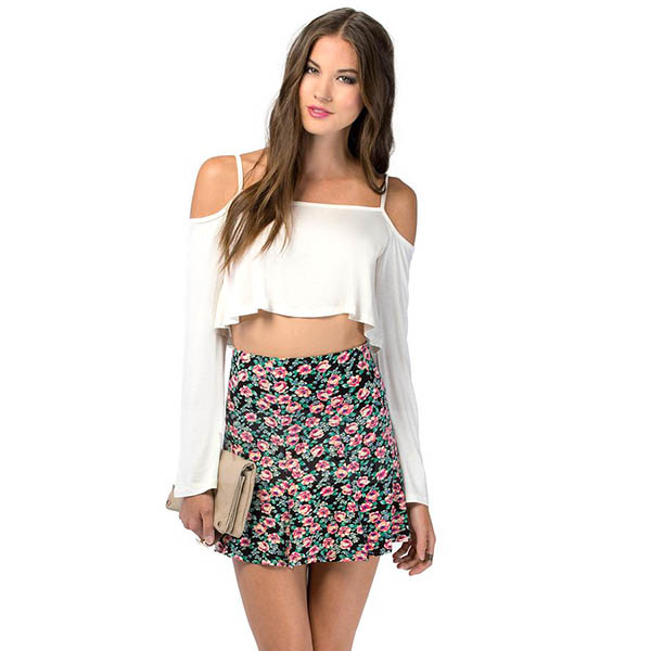 New Women Strapless Long Sleeve Cut-out Crop Tops Tube Top T-shirt Blouse Shirts