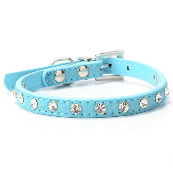 Pet Suede PU Leather Crystal Rhinestone Dog Puppy Cat Collar Necklace XXS XS S M