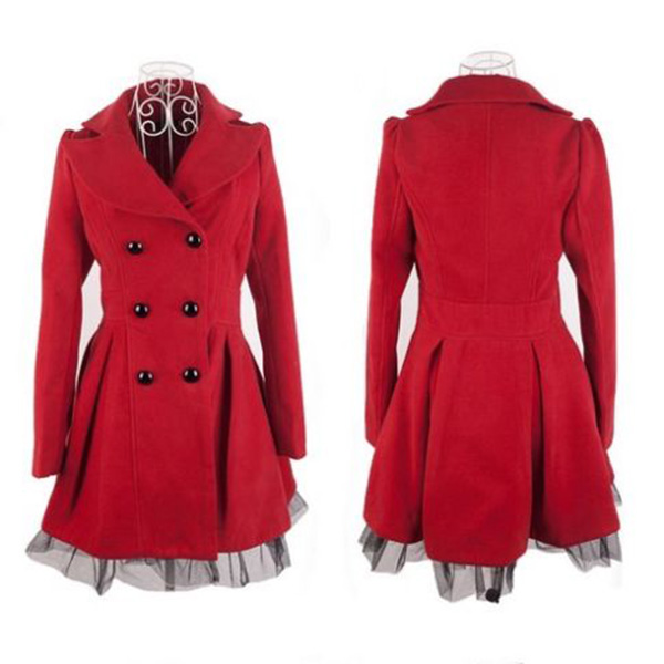 Women's Girl's Slim Peacoat Long Dress Jacket Double ...