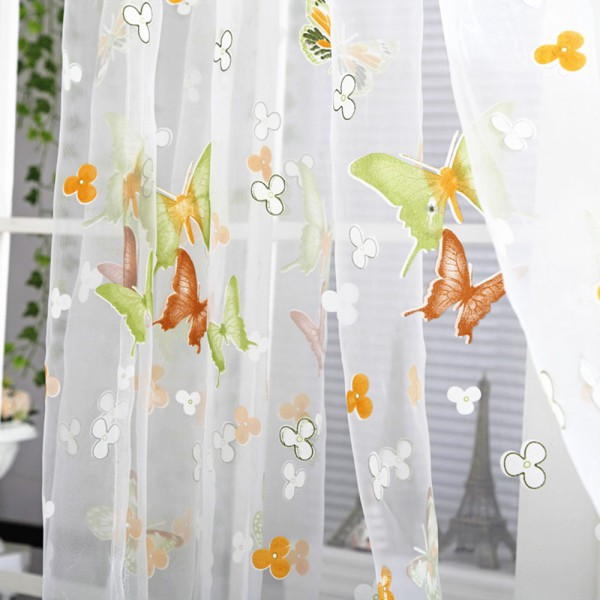 Butterfly Floral Tulle Voile Window Curtain Balcony Sheer Panel Scarf Valances Ebay