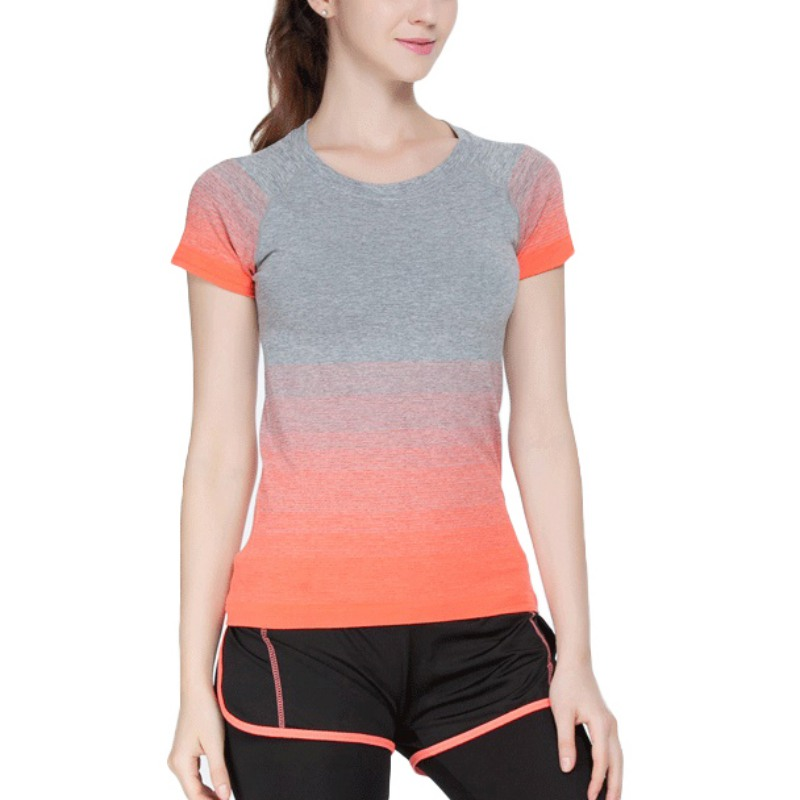 Women sports yoga fitness gym stretch workout short sleeve Yoga shirts with sleeves