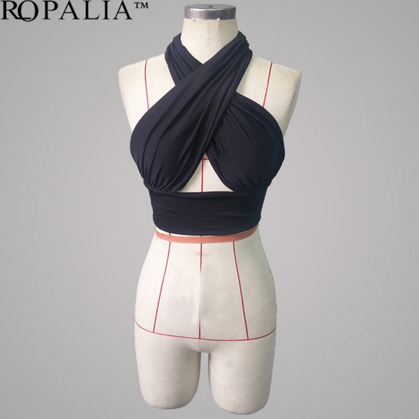 WOMEN NEW WRAP CROSS OVER SEXY STRETCH BANDAGE CROP TOP BRALET BUSTIER SHIRT