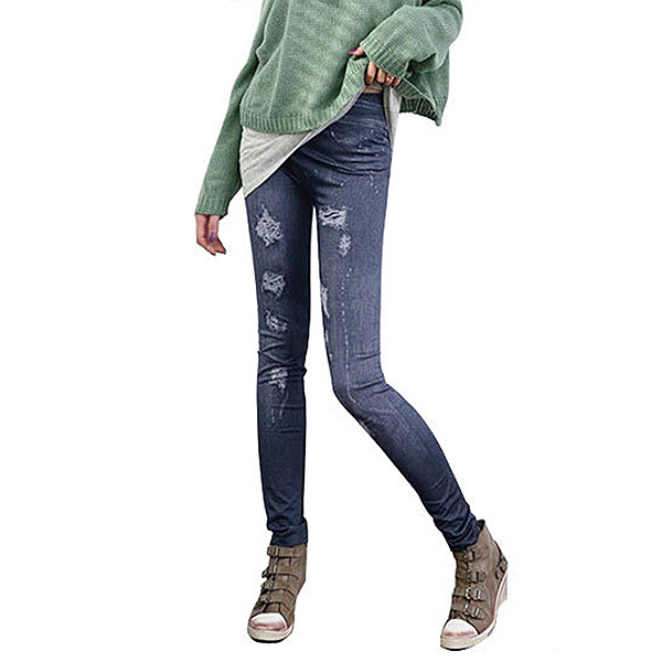 Women's Skinny Jeggings Long Tights Stretchy Faux Jeans Denim Pencil Pants Hot