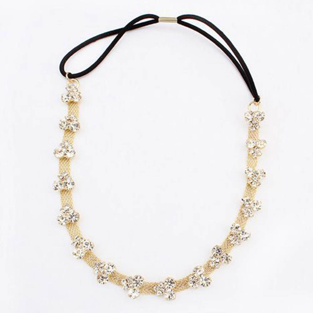 Lady's Silver/Gold Plated Crystal Flower Elastic Hair Band Headband New M45