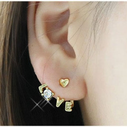 Korean-Fashion-Shiny-Rhinestone-Earrings-Delicate-Letters-LOVE-Stud-Earrings-Hot