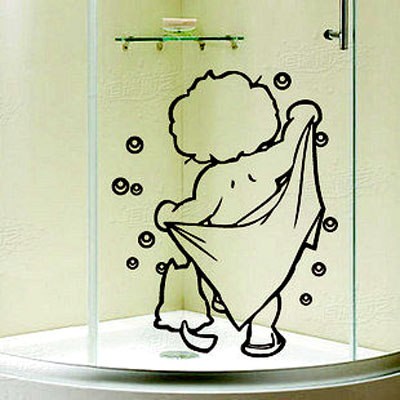 Wall decor art vinyl removable mural decal bathroom for Cn mural designs