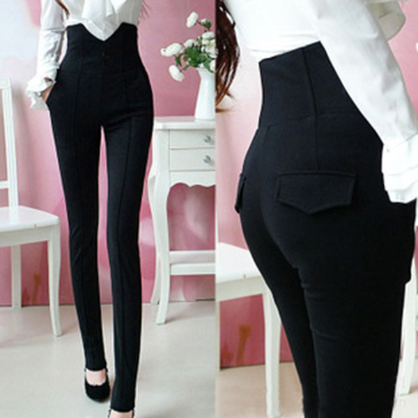 Women High Waist Pants Stretch Pencil Slim Fit Skinny Jeans Trousers S M L XL