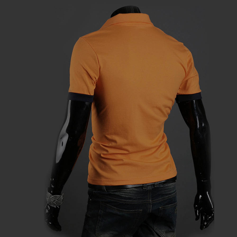 Men 39 s slim fit short sleeve casual polo shirts t shirt for Mens pullover shirts short sleeve