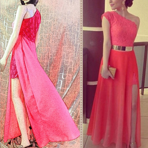 Sexy Women Sequins Long Formal Gown Prom Cocktail Evening Chiffon Lace Dress