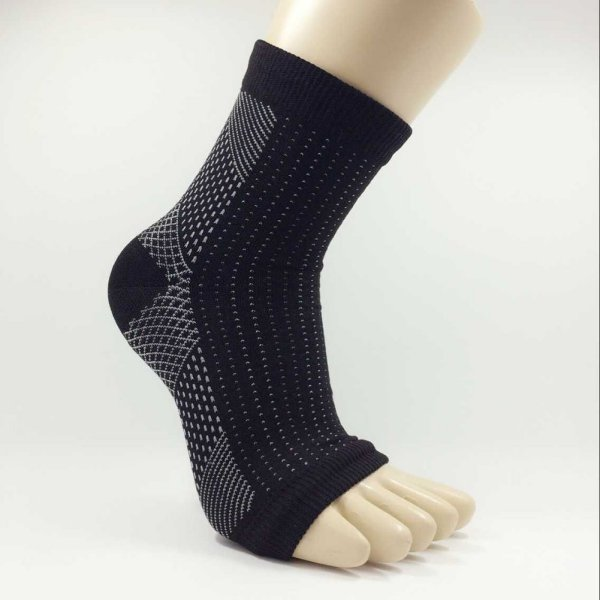 Black Breathable Ankle Compression Stockings Support  Toe-less Ankle Socks M66