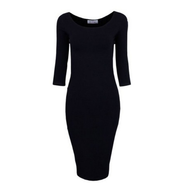 Elegant Lady Crewneck Long Sleeve Slim Fit Sexy Bodycon Party Dress S/M/L/XL S52