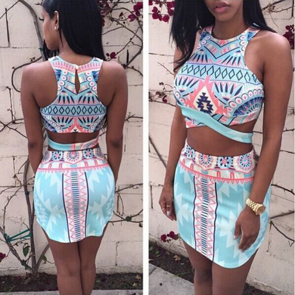 Summer Womens Two Piece Crop Top and Skirt Set Sexy Bandage Bodycon Party Dress