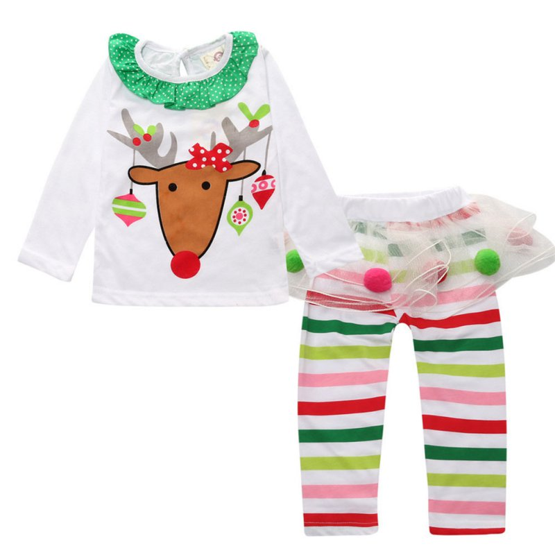 Baby Kids Christmas Clothes Girl Reindeer Tops Tulle Tutu