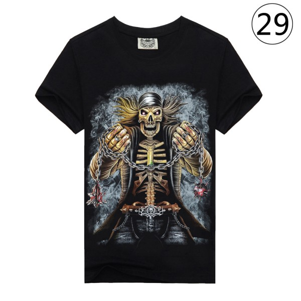Fashionable Men Rock 3D Printed Club Short Sleeve Cotton Casual T-shirt Tops Tee