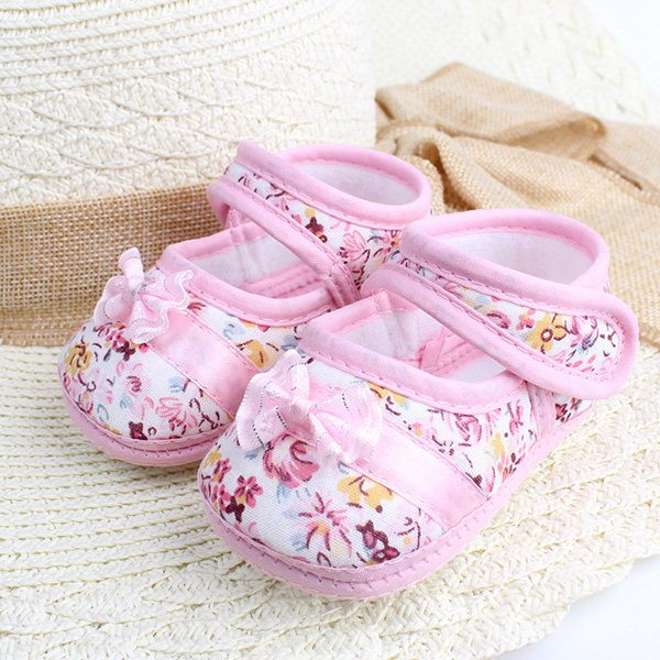 3-12 M Baby Kids Shoes Floral Toddler Infants Walking Shoes Bowknot Prewalker
