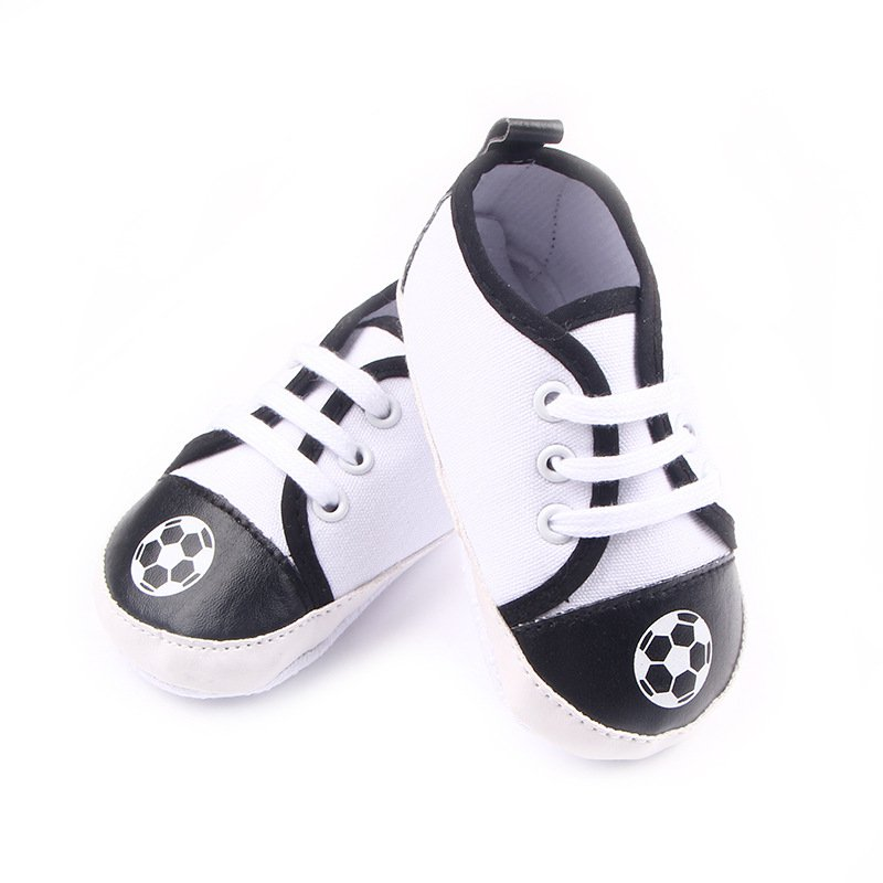 Toddler Infant Baby Boy Soft Sole Black White Crib Shoes ...