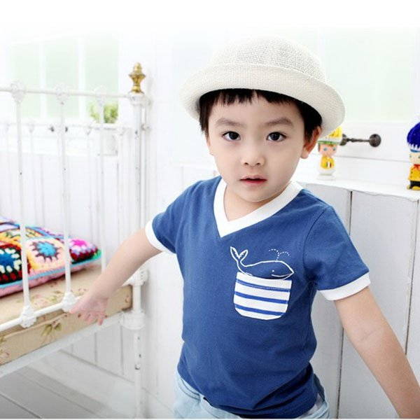 Kid Boy Casual Comfy T-shirt Cute Dolphins Short Sleeve T Shirt Tops Clothes E72