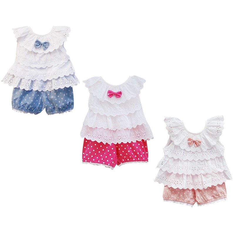 Kids Baby Girls Blue Pink Polka Dot  2Pcs Top+Pants Outfits Costume Clothes 0-2Y