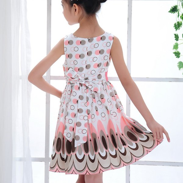 New-Kids-Girls-Princess-Bow-Belt-Sleeveless-Bubble-Peacock-Dress-Party-Clothing