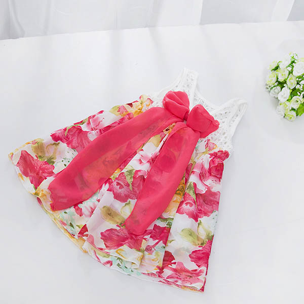 Summer Kids Girls Clothes Hollow Out Vest Dress Big Bow Floral Skirt Dress A60