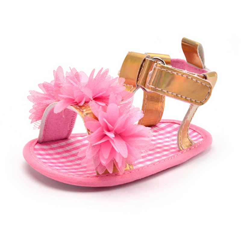 New Baby Girl Floral Summer Sandals Crib Soft Sole Non-slip Princess Shoes 0-18M