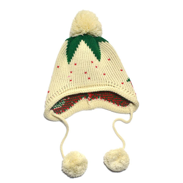 Cute Kids Girls Baby Knitting Crochet HAT Strawberry Pattern CAP 4 Colors Q55...