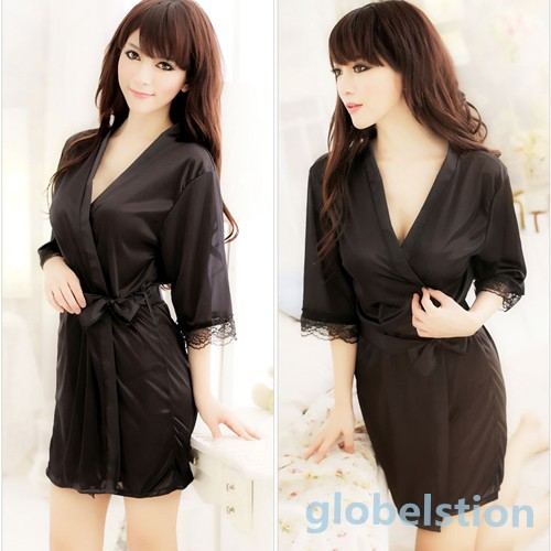 Women's Sleepwear ROBE Bathrobes+G-string Thongs Pajamas Lingerie Nightdress