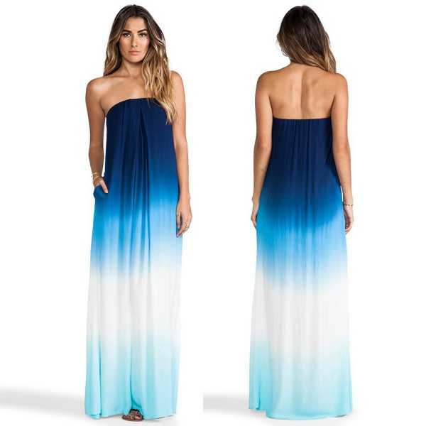 Women's Long Maxi Strapless Dress Cocktail Evening Party ...
