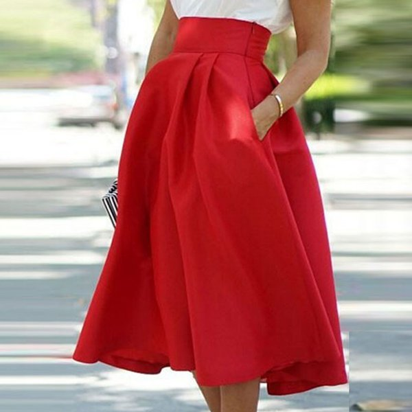 Summer Women's Retro High Waist Cocktail Party Pleated Skirt Flared Casual Skirt