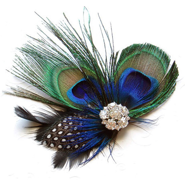 Peacock Feather Rhinestone Hairpin Hair Clip Belly Dance Party Wedding Hair Wear