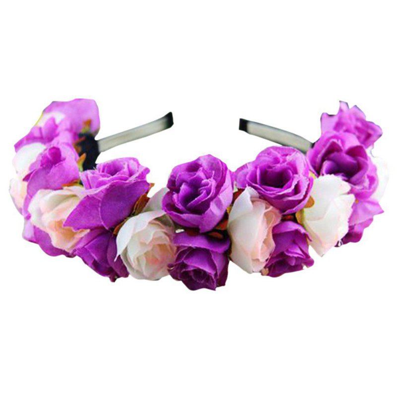 Sweet Rose Flower Garland Headband Wedding Party Ladies Crown Hairband Partywear
