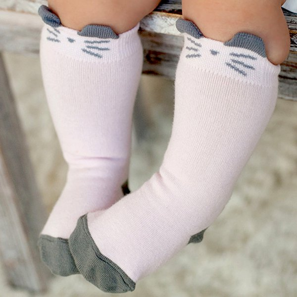 Cute Cat Style Socks Knee High length Cotton Anti-slip Baby Newborn 0-4Y  M46