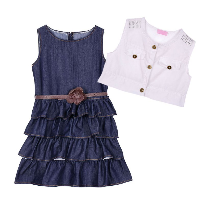 kid ruffled denim vest dress skirt jacket