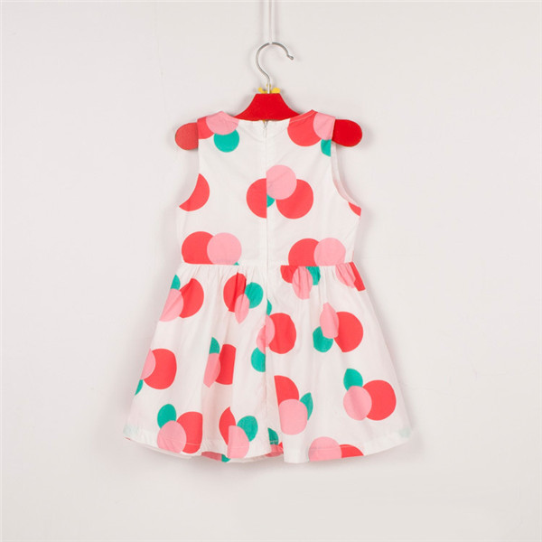 Cute Baby Girl Cotton Pleated Dress Polka Dots Sleeveless Skirts Bow Party 2-7Y