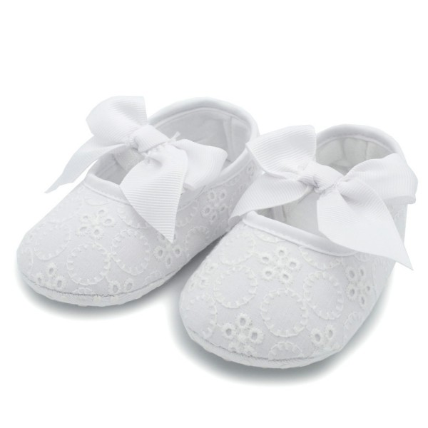 Kids Baby Girls Floral W/Bowknot Ribbon Soft Bottom Shoes Prewalker Size 0-18M
