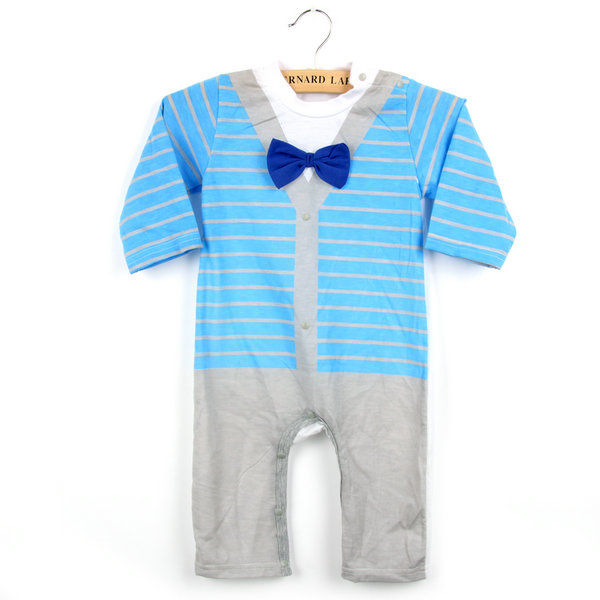 Kids Baby Clothes OutfitBoys Bow Tie Striped Gentleman Romper Jumpsuit Bodysuit