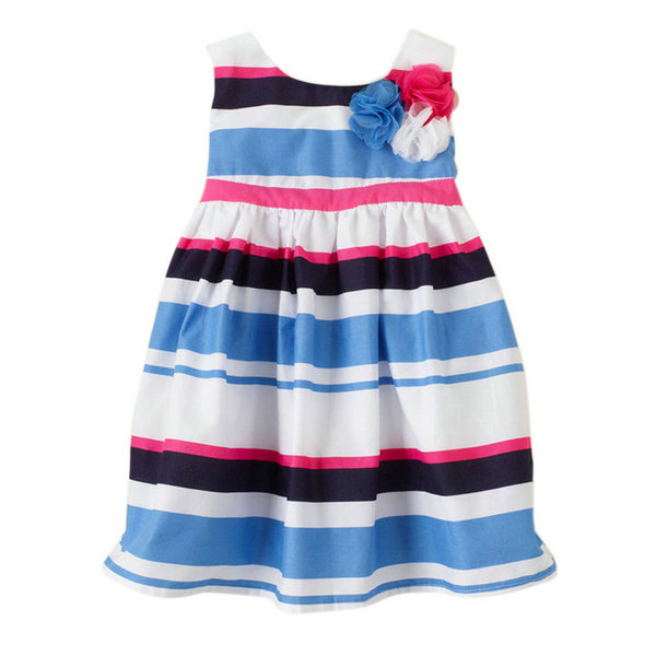 Lovely Kids Baby Girl Summer Dress Skirt Cute Striped Toddler Clothes Sleeveless