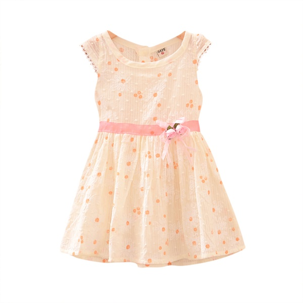 0-4Y Baby Girls Flower Clusters Dress Princess Tutu Skirt Short Sleeve Sundress