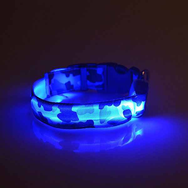 Safety LED Glow Collar Dog Pet Flashing Light Leash Nylon Camouflage Collar