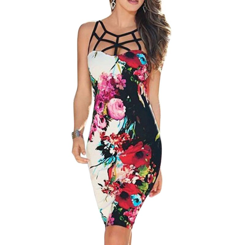 Sexy Women Summer Bandage Bodycon Floral Evening Party Cocktail Short Mini Dress