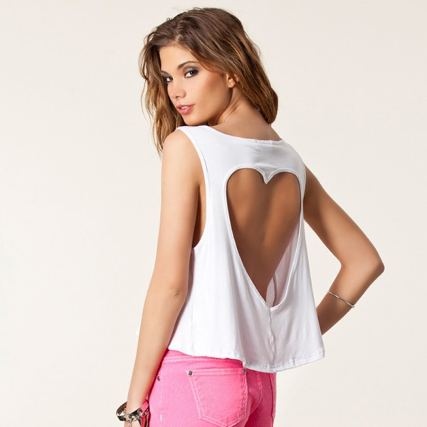 Sexy Womens Heart-shaped Bare Midriff Crop Top Back Hollow Vest Tank Tee S-XXL