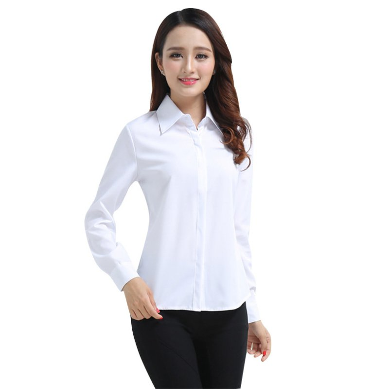 Women casual button down slim shirt office lady long for Button down t shirts