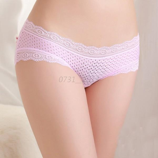 Lady's Soft Bamboo Fiber Breathable Solid Lace Edge Low Rise Briefs Knickers New