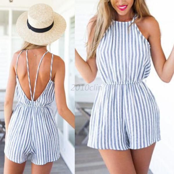 Women Ladies Clubwear Halter Playsuit Bodycon Party Jumpsuit Romper Trousers