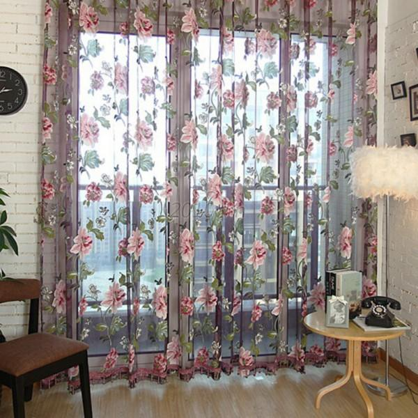 Stylish Floral Tulle Voile Window Curtain Panel Sheer Drape Scarf Valances C93